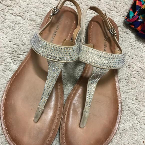 eb661cf15b4 ANTONIO MELANI Shoes - thong flip flops- champagne rhinestones- size 8 💎